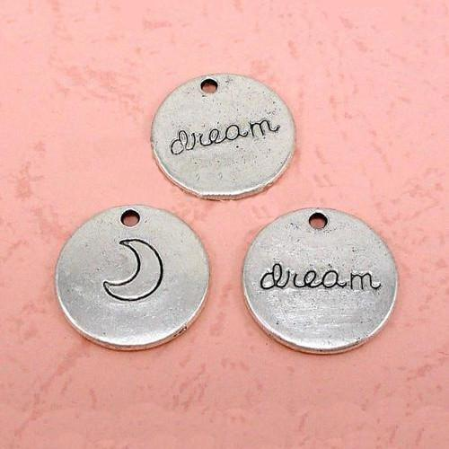 Charms, silver tone, double sided, round, disc, engraved,