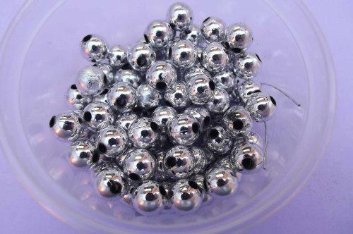 Metal look, acrylic beads, round, silver colour, 8mm, ±30pc
