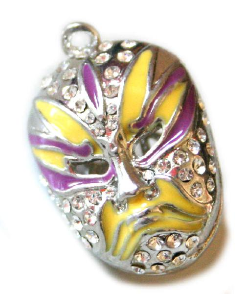 Purple, yellow and silver colour cloisonne chinese mask