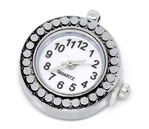Quartz chain necklace watch face round silver tone stainless