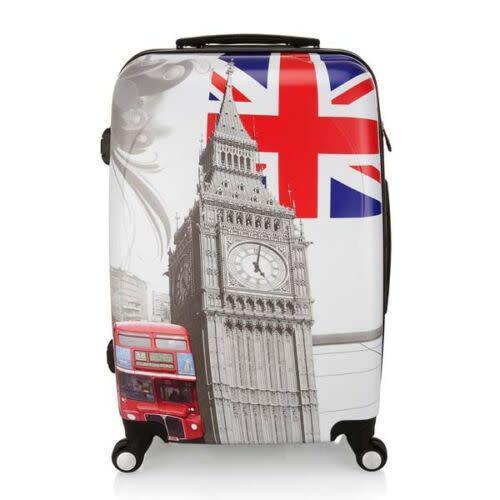 Large) london england printed luggage suitcase wheel hard