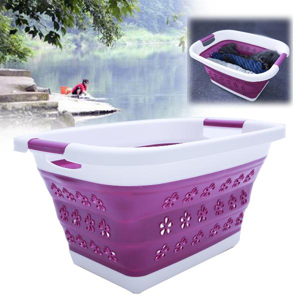 Large collapsible laundry drain basket wash clothes fruits