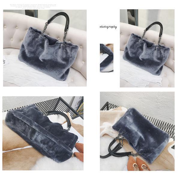Fashion women plush fur handbag purse tote shopping large