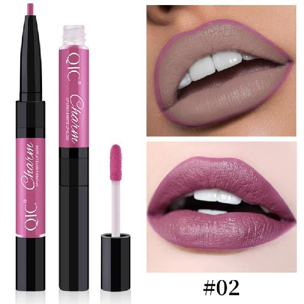 Qic 2 in 1 lip gloss wateproof double ended long lasting