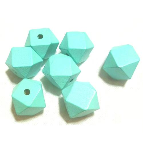 Beads, natural beads, mint green geometric shaped wooden