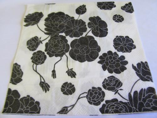 Decoupage serviettes, flower design, white with black, 1pc