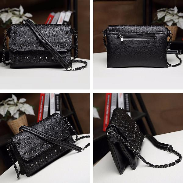 Fashion women lady leather skull handbag messenger shoulder