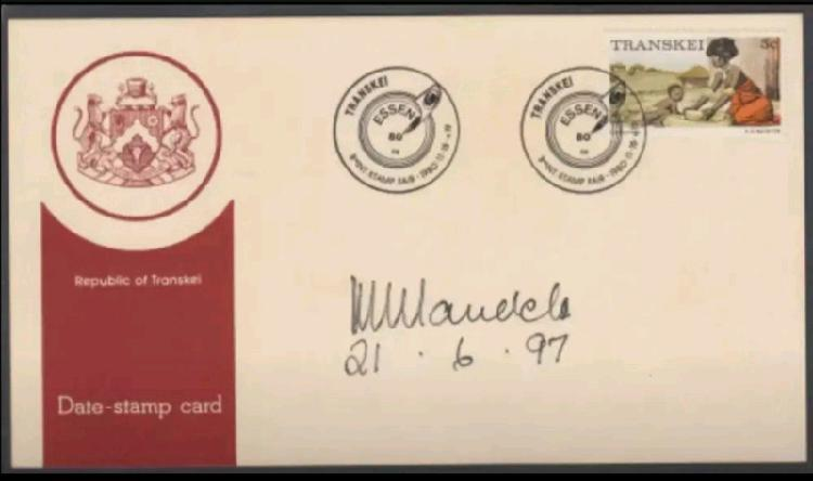 Nelson Mandela signed and dated Transkei FDC
