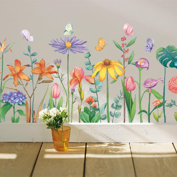 Diy green leaves wall stickers flower for bedroom kitchen