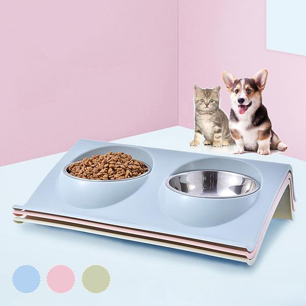 Stainless steel double food bowl pet puppy cat food water