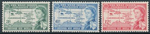 1958 - st christopher nevis caribbean federation set - mint