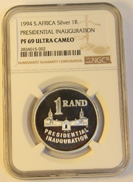 1994 1 rand presidential inauguration ngc graded pf69 uc