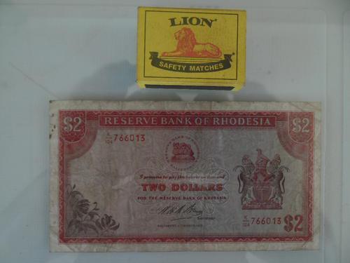 2 dollars note reserve bank of rhodesia 1975 salisbury