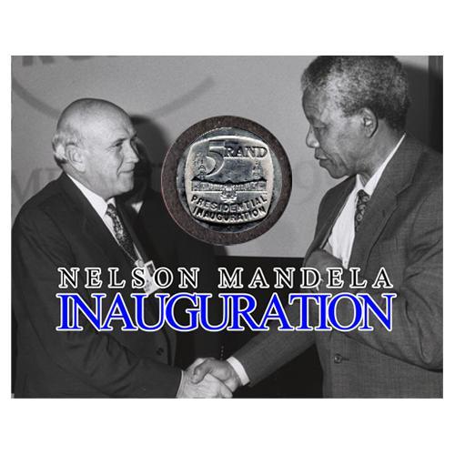 Mandela inauguration five rand - r5 1994 au58-ms63 potential