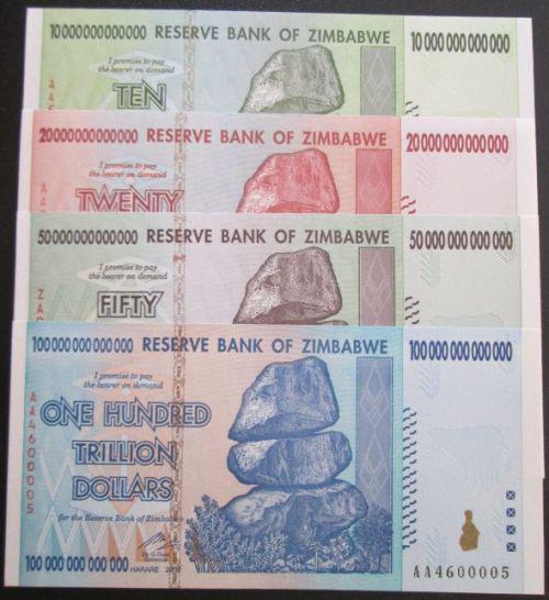 Reserve bank of zimbabwe set of 10 20 50 100 trillion
