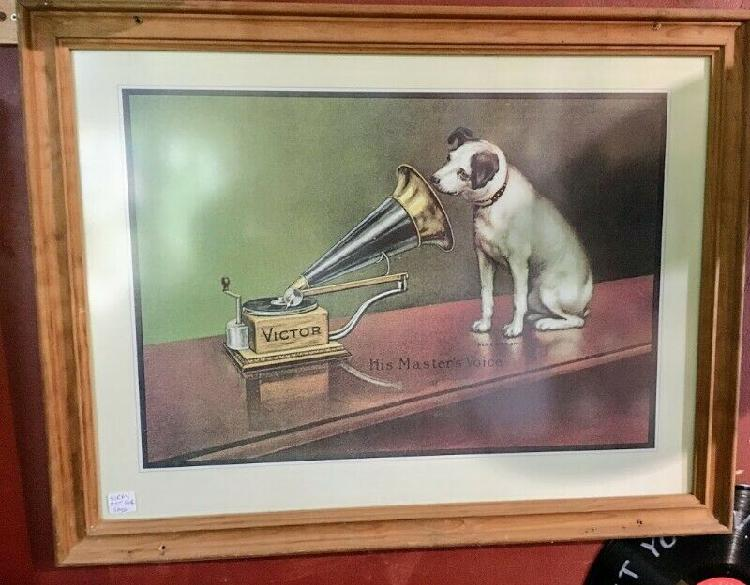 Framed his masters voice advert