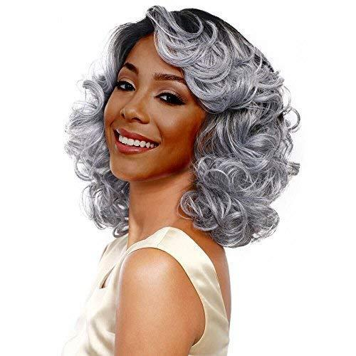 Fashion silver gray bob cosplay wig short loose wave...
