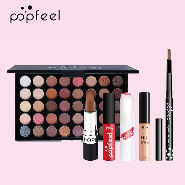 Popfeel 6pcs makeup set easy to apply foundation liquid eye