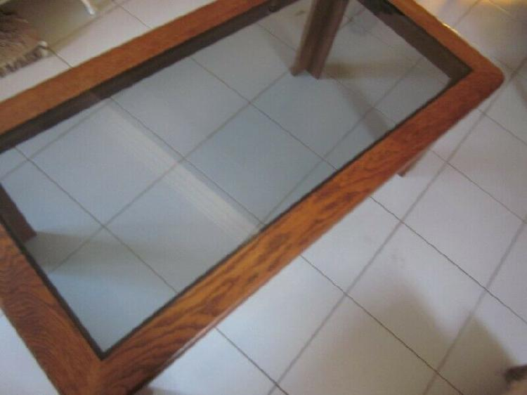 Solid oak glass top coffee table 1200mm x 600mm in very good