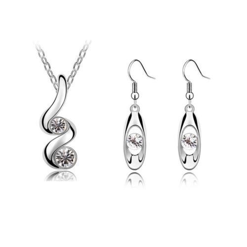 2017 new fashion silver plated earrings and necklace jewelry