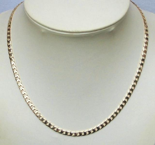 9k / 9ct gold chain: square curb, 7.8mm wide, 55cm
