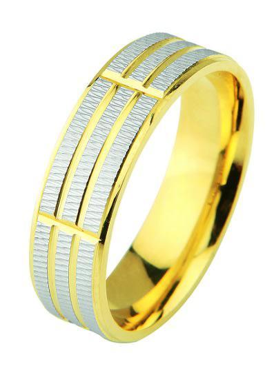 9k / 9ct gold designer wedding band: 2 tone, 6mm wide,