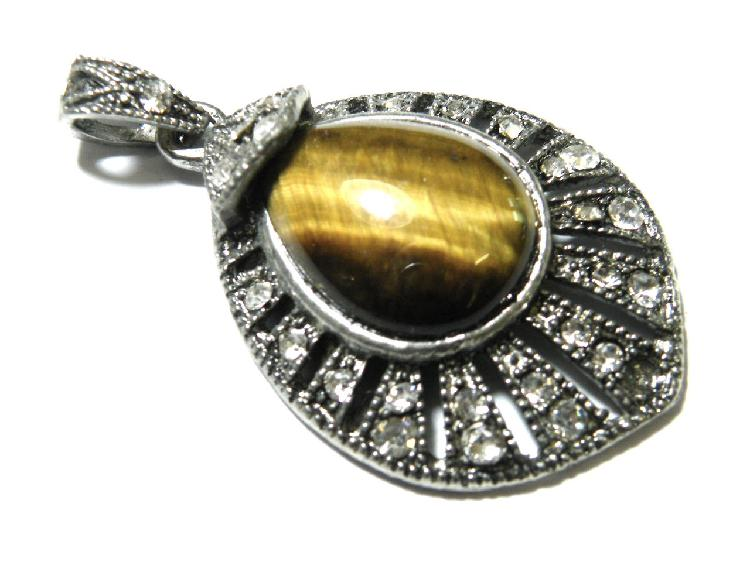 Assorted gemstones in marquise style teardrop pendant 46mm