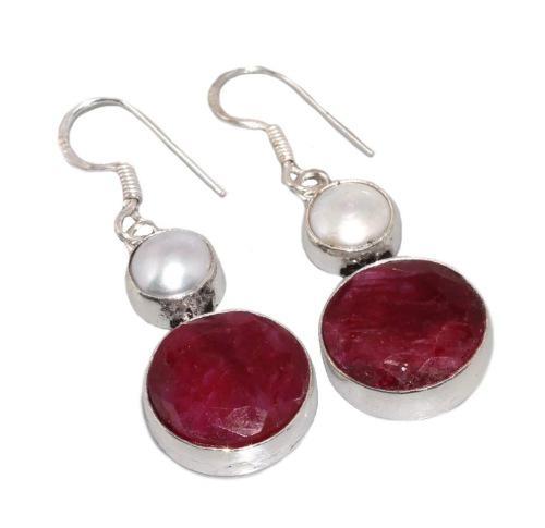 Enchanting indian cherry ruby earrings set in.925 silver