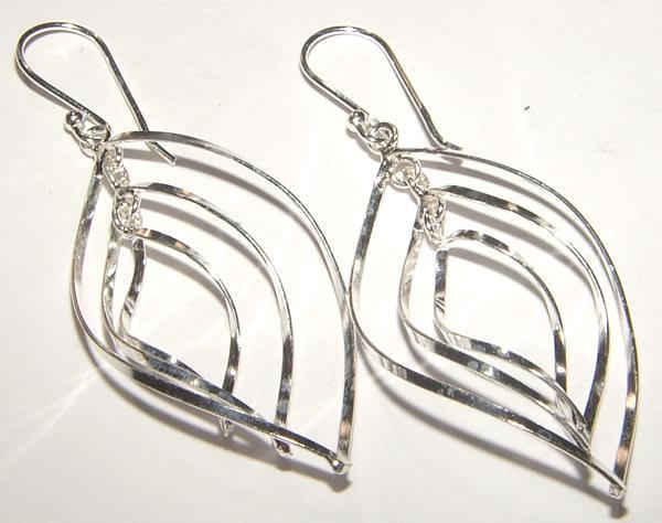 Gorgeous floating leaves dangling earrings set in solid.925