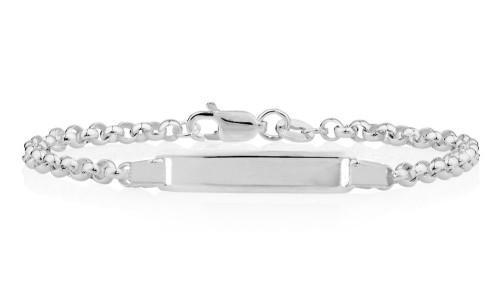 Genuine 16cm 925 sterling silver rolo chain id bracelet