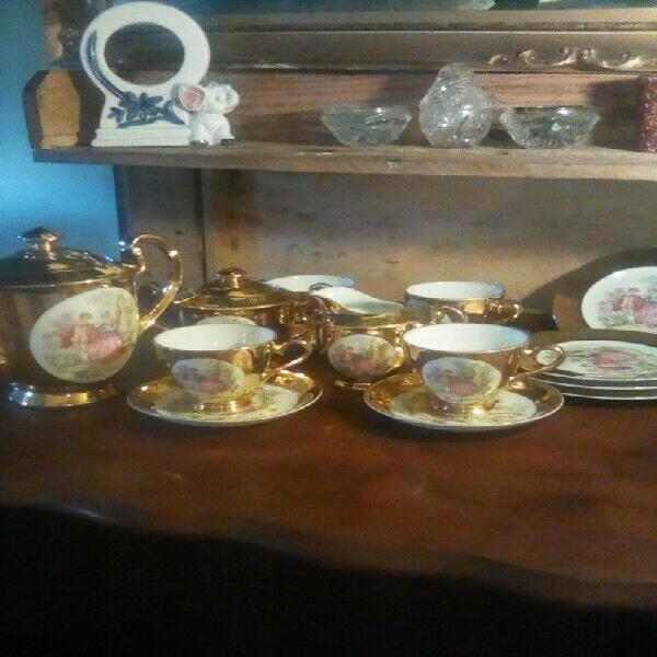 Golden, vintage tea set