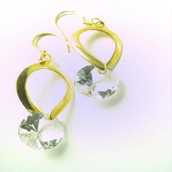 Ladies gold plated fashion earrings with 13mm cubic zirconia