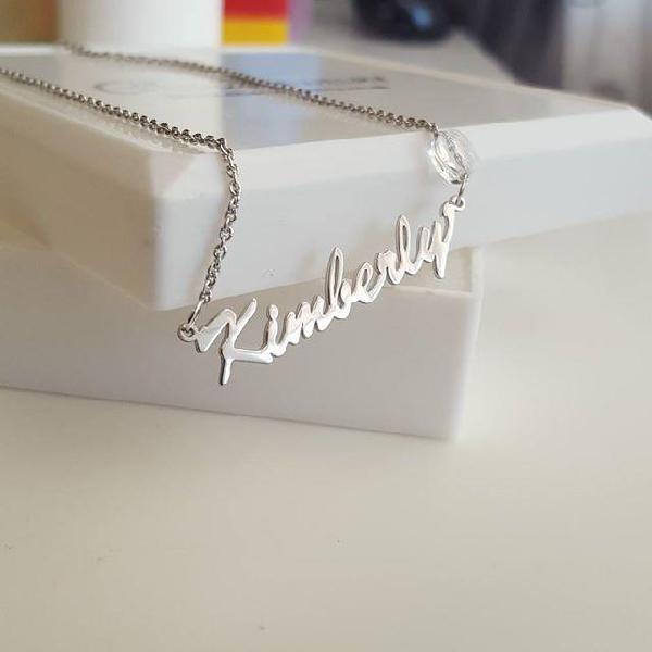 Nn1 - sterling silver name necklace with swarovski