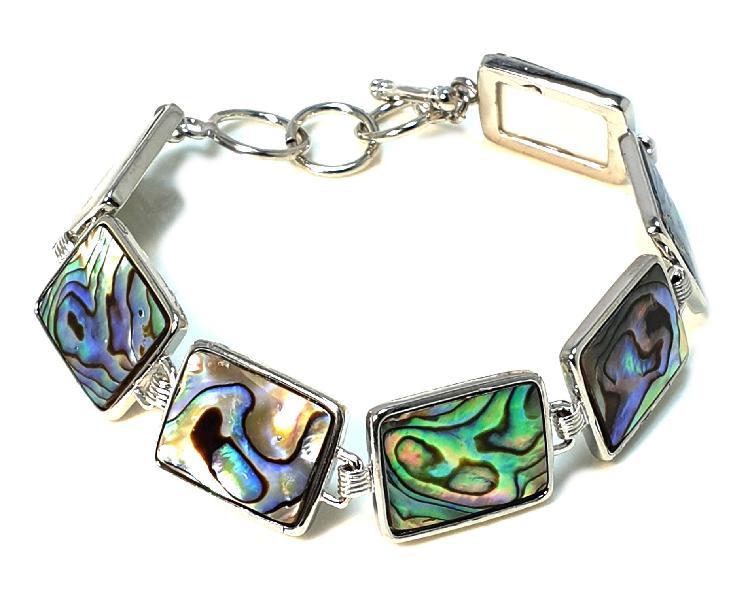 Paua shell bracelet w clasp, base metal, square shape -