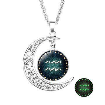 Retro style pendant necklace (constellation: aquarius)