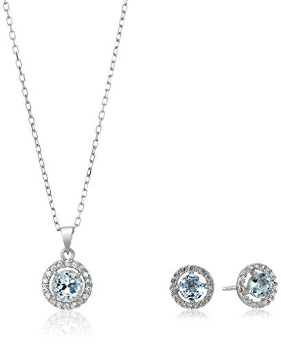 Sterling silver earrings and pendant necklace jewelry set