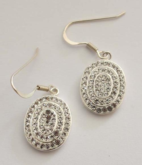 White crystal drop earrings in 925 sterling silver