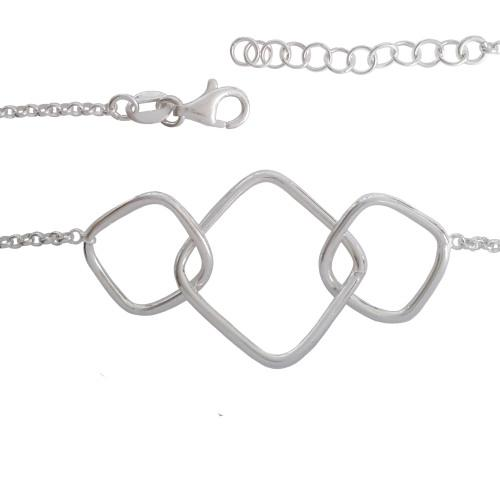 925 sterling silver* interlinked square and rolo style