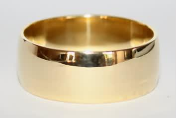 9k / 9ct gold wedding band / ring, 8mm wide, domed, size w,