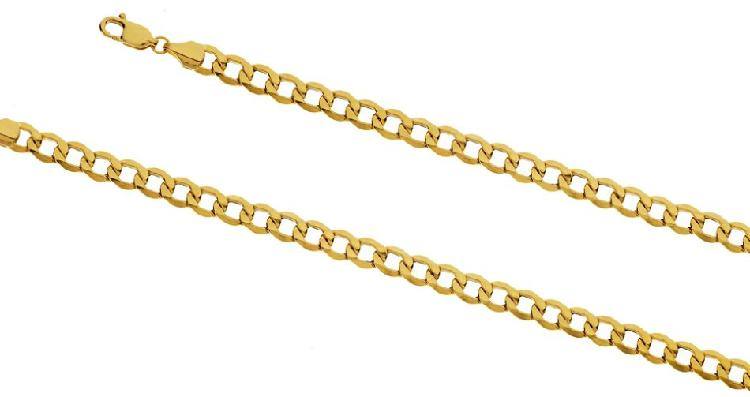 9k / 9ct gold hollow curb chain: 5.1mm wide, 55cm