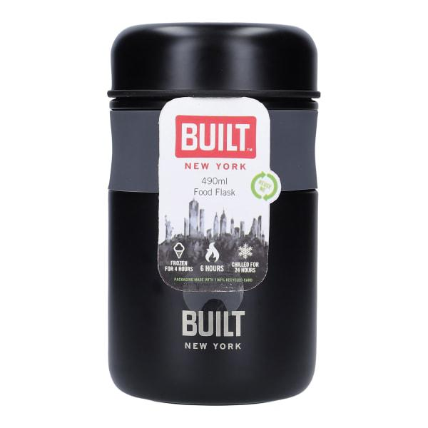 Built insulated stainless steel food flask, 490ml