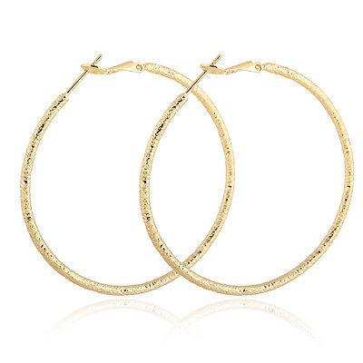Gold plated unique mosaic big round hoop earrings leverback
