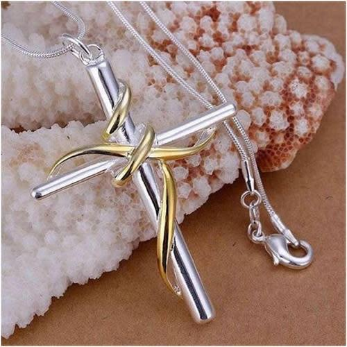 Necklaces, 925 silver plated and 18k gold plated cross