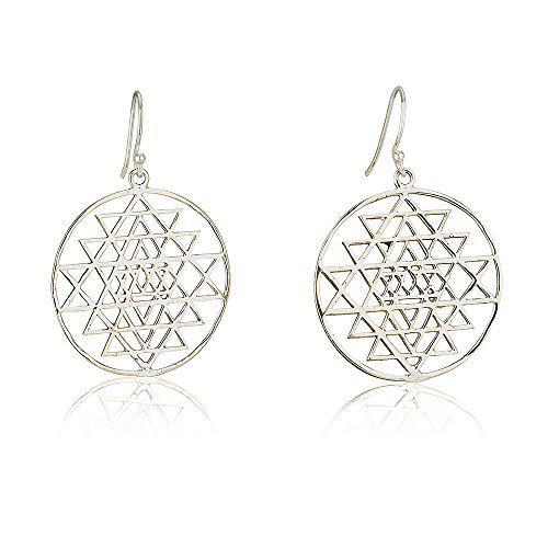 Sri yantra earrings (thin) sterling silver 925 size 1.3