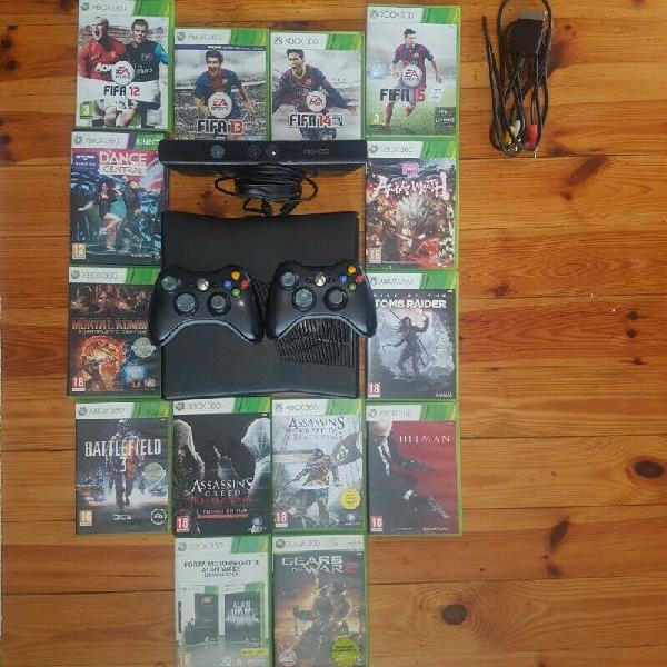 Xbox 360, games and 2 x controllers with battery packs and 2