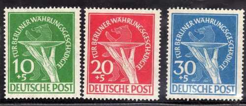 GERMANY WEST BERLIN 1949. BERLIN RELIEF FUND SET OF 3 MM. SG