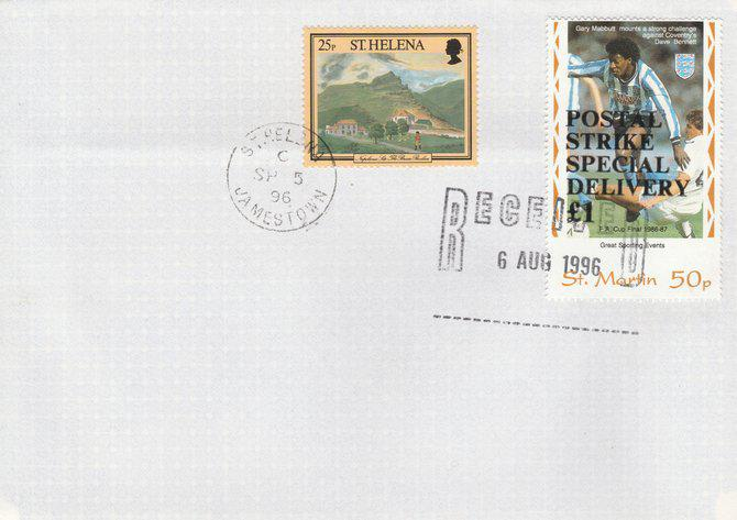 Great britain 1996 postal strike cover to st helena bearing