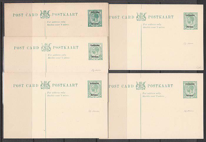 Swa 1923 postal stationery 1/2d x 5 post cards, 14mm