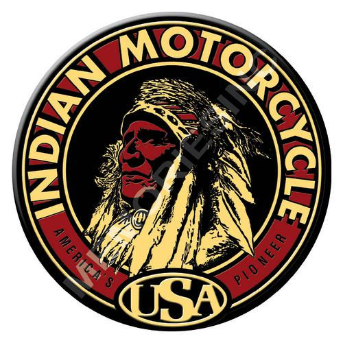 Indian motorcycle - americas pioneer - classic round metal