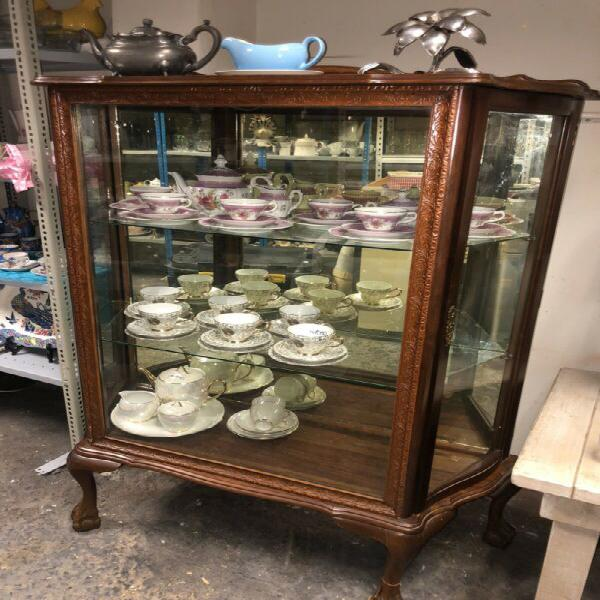 Display cabinet - vintage imbuia ball & claw feet & carved
